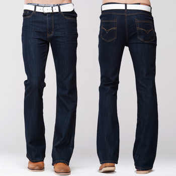 GRG Mens Slim Boot Cut Jeans Classic Stretch Denim Slightly Flare Dark Blue Pants Fashion Stretch Trousers - DISCOUNT ITEM  11 OFF Men\'s Clothing