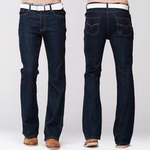 Grg Mens Slim Boot Cut Jeans Klassieke Stretch Denim Iets Flare Donkerblauw Broek Mode Stretch Broek