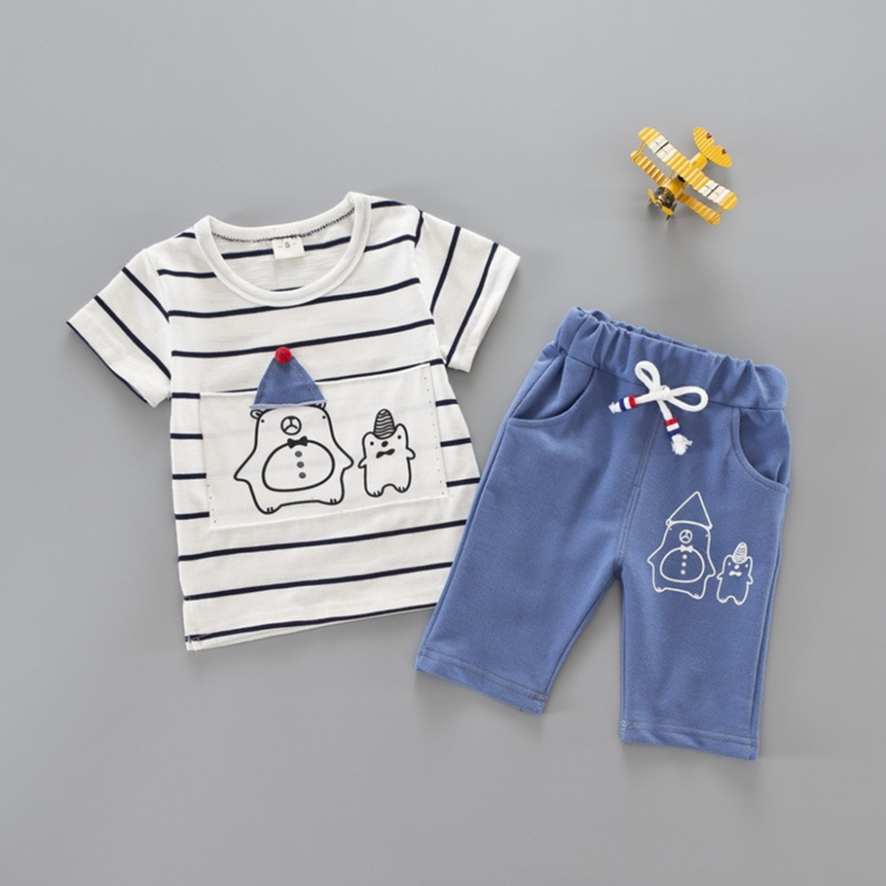 2018 Hot Sale Boys Cloth Brand Boys Clothing Children Summer Boys Clothes Cartoon Kids Boy Clothing Set T-shirt+Pants Cotton