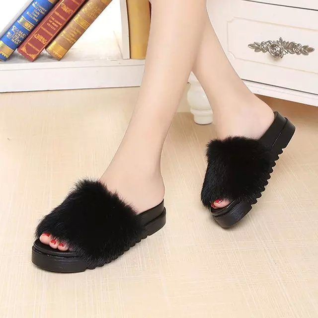 5add65fb7ab13 2016 Summer Women s Fur Slippers Rabbit Hair Thick Bottom Flats Flip Flops  Fur Sandals Casual Flats Platform Ladies Autumn Shoes-in Slippers from Shoes  on ...