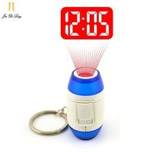 2017  Mini LED Projector Clock Luminous Watches & Clocks Plastic Flashlight Clock  Electronic Movement Projection Clock Keychain