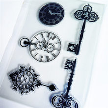 PANFELOU The clock key Transparent Clear Silicone Stamp/Seal for DIY scrapbooking/photo album Decorative clear stamp sheets