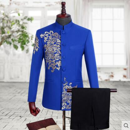 Mens Chinese Tunic Suit Set With Pants Mens Wedding Suits Costume Singer Star Style Dance Stage Clothing Stand Collar Black