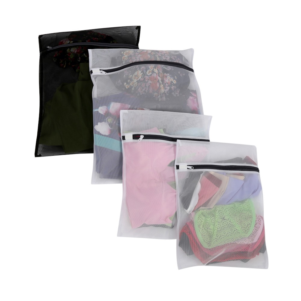 4 Delicates Laundry Wash Bags Mesh Drying Bag Clothes lingerie Protection Drying Bag Black and White for Washing Machine