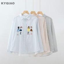 9d3198ebf26 KYQIAO blusas mujer de moda 2018 женские осенние Япония Стиль Мультфильм с  вышивкой для девочек синий серый розовый полосатый бл.