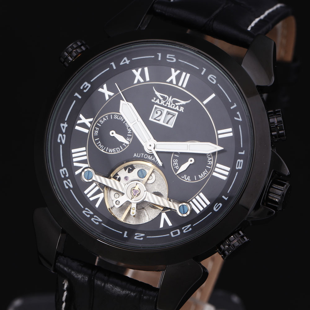 ФОТО Jaragar Army Watch Men montre homme Business Genuine Leather Strap Top Luxury Military Clock Automatic Mechanical Sport Watches