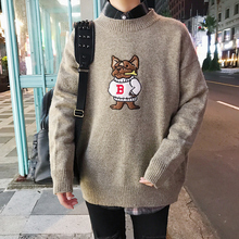 2017 Winter Men's Brand In Warm Knit Casual Loose Original Cartoon Embroidery Masculino Cashmere Coats Woolen Sweaters M-2xl