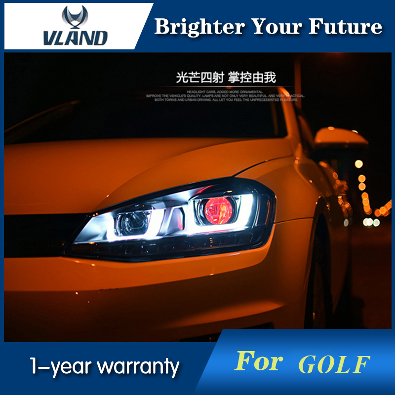 LED Headlights For VW VOLKSWAGEN GOLF 6 MK6 2010-2014 UU Type DRL LED Headlights Demon Eyes for volkswagen polo mk5 vento cross polo led head lamp headlights 2010 2014 year r8 style sn