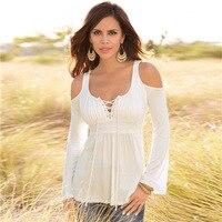 VITIANA Women Spring Long Sleeve Off Shoulder V Neck White Black T Shirt Female Casual Fall