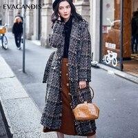 Plaid Wool Coat Women Winter Korean Tassel Cashmere Jacket Vintage Chic Woolen Overcoat Thick Cotton Padded Plaid Long Coat