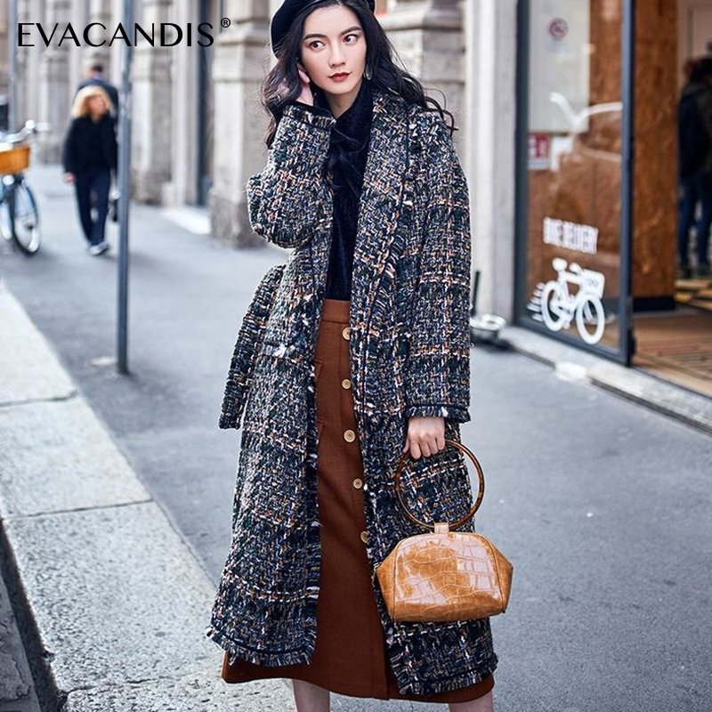 Plaid Wool Coat Women Winter Korean Tassel Cashmere Jacket Vintage Chic Woolen Overcoat Thick Cotton Padded Plaid Long Coat