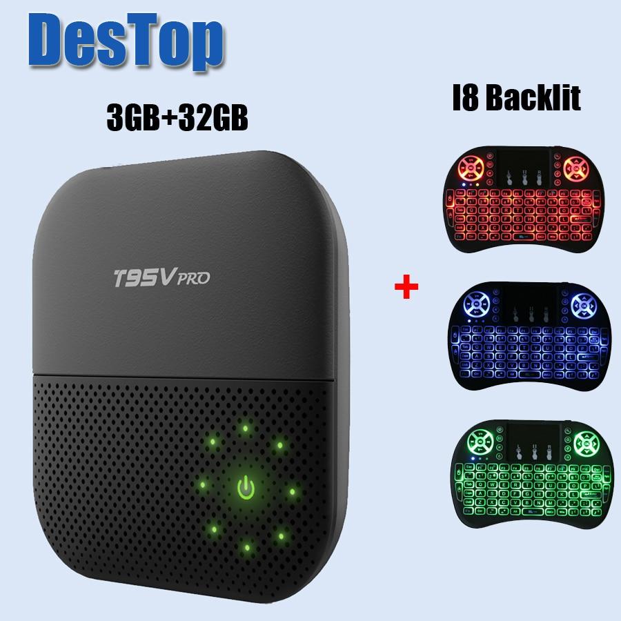 1 stks/partij T95V PRO Smart TV Box 3 gb RAM 32 gb ROM Amlogic S912 Octa core cortexA53 Android 7.1 TV Box WiFi 2.4 ghz/5.8 ghz 5g 4 k-in Set-top Boxes van Consumentenelektronica op  Groep 1