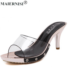 luxury 2017 women fashion designer brand slipper sandal high heel mule fur transparent furry feather clear shoe for femme female