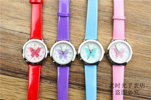 Free shipping kids lovely butterfly dial quartz watch little boys and girls leanr to time animals face luminous hands gift clock