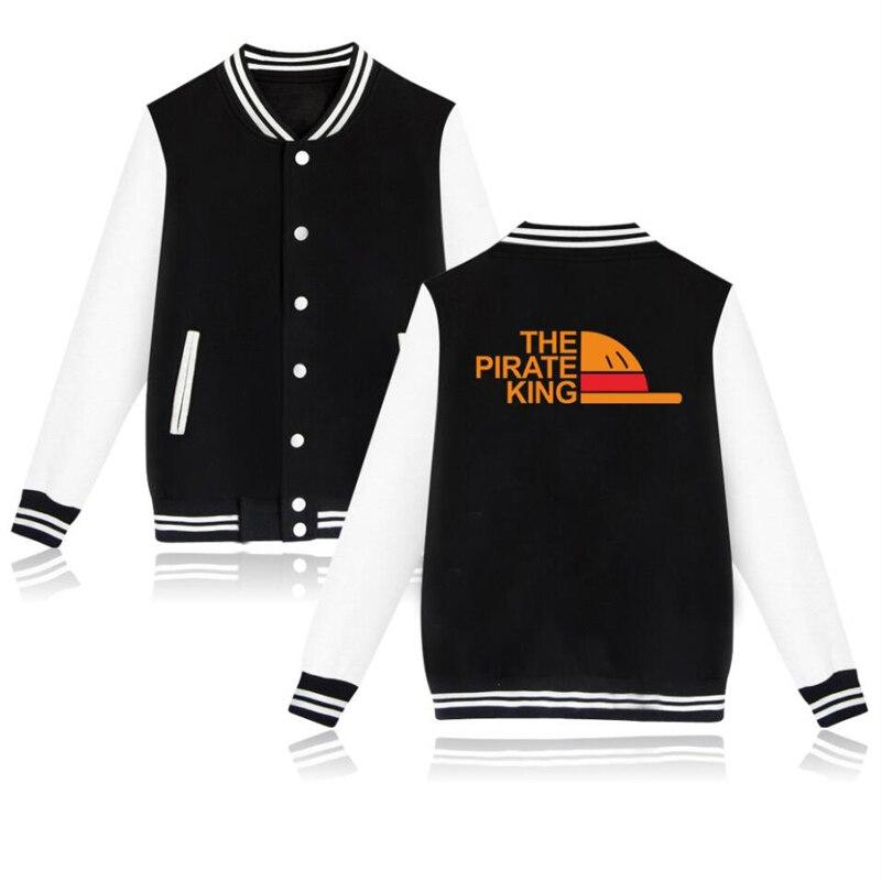 Winter Jacket Men Anime One Piece Hoodie Japanese Streetwear The Pirate King Luffy College Baseball Uniform Harajuku Sweatshirts