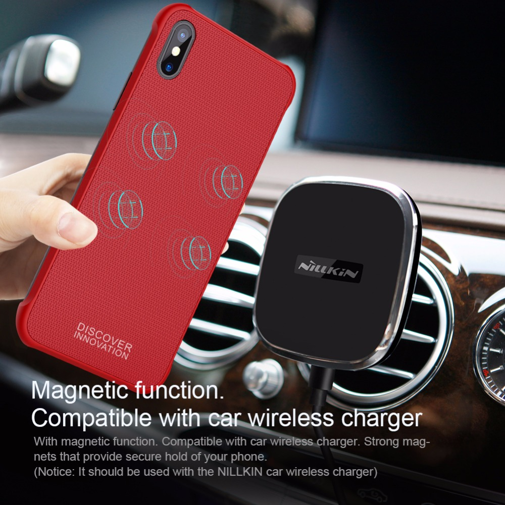 Nillkin Wireless Charging Fitted Case for iPhone X Cover Magnetic Shell Tempered Magnet Cases for wireless charger Adsorption