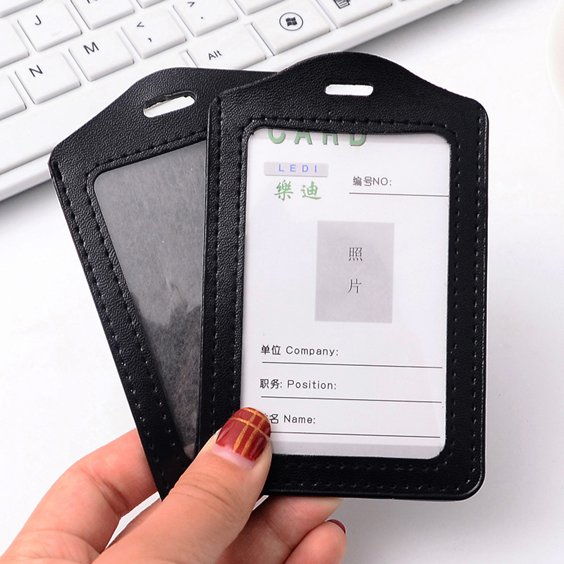 5 Pcs/lot PU Leather Card Holders Bank Card Bus ID Holder With Lanyard School Office Supplies Students High Quality