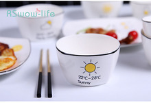Nordic Ceramic Bowl Home Creative Cartoon Salad Square Hotel Picnic Kitchenware