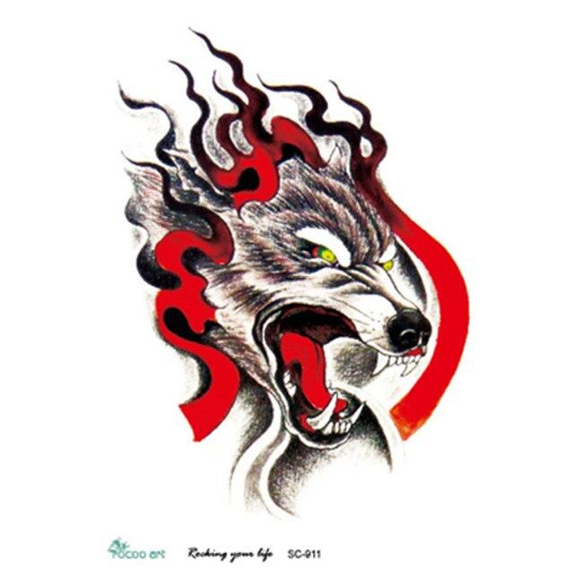 3d Sketsa Marah Mengerikan Api Kepala Serigala Desain Keren Dada