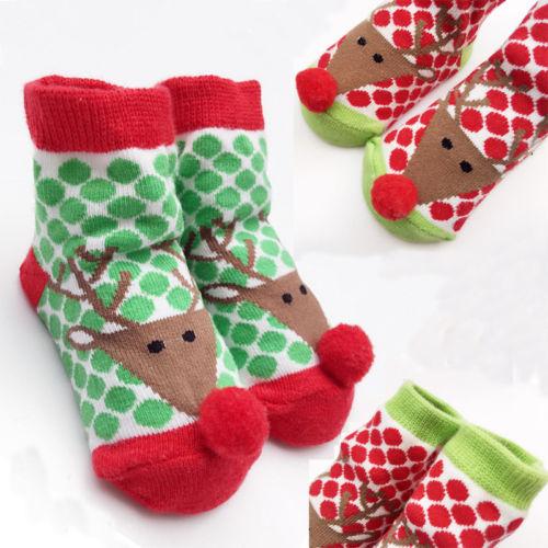 1 Paar Weihnachten Baumwolle Boden Knie Dot Hohe Neugeborenen Baby Mädchen Jungen Nette Deer Socken Anti Slip Winter Warmes Zuhause Nachtwäsche Geschenke