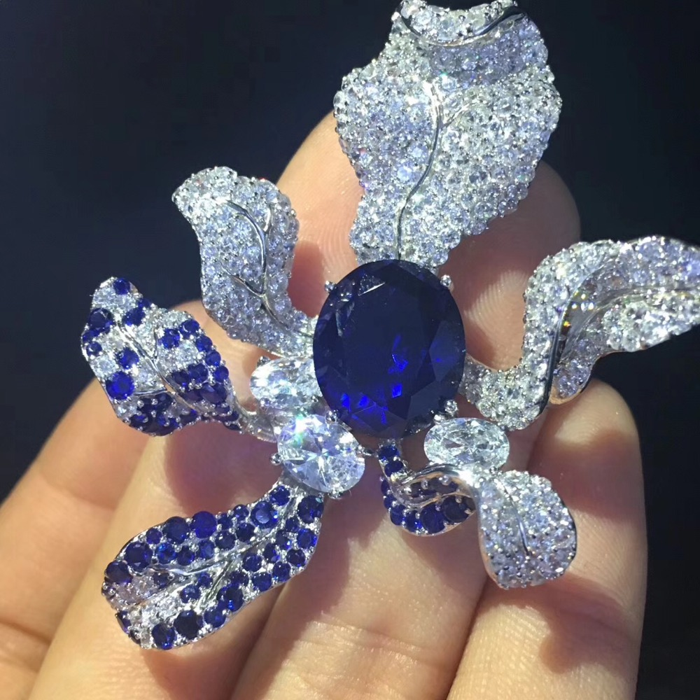 925 sterling silver with cubic zircon orchid flower brooch fashion women jewelry free shipping high quality