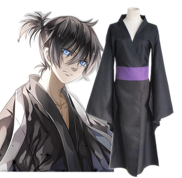 Anime noragami yato Cosplay traje conjunto completo negro kimono yukata ( ropa + correa) vestido 716befacd3f7