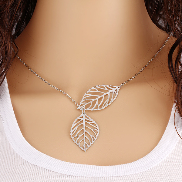 Charm Women Silver Plated Leaves Pendant Chain Choker Necklace Jewelry Accessory
