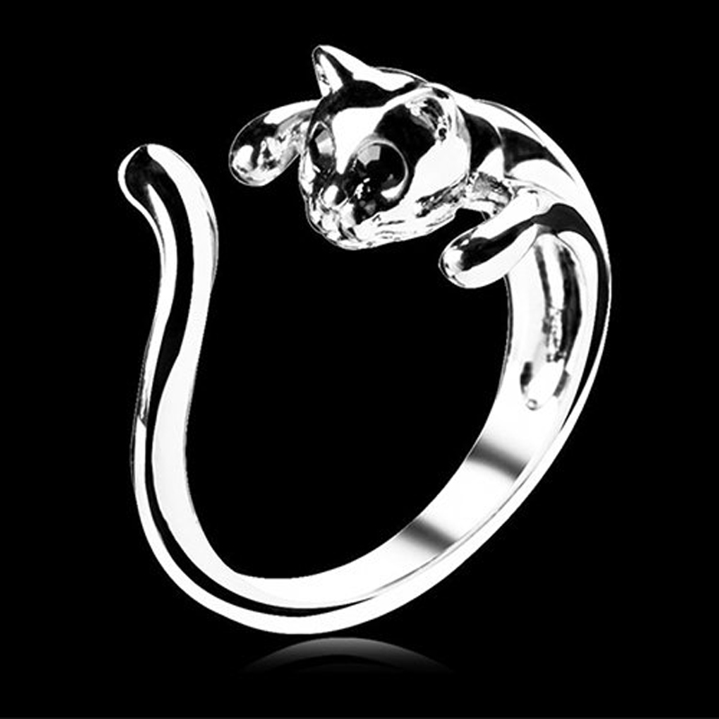 Vintage Handmade Cat Ring for Women and Girls Cute Animal Kitty Rings Christmas Fashion Party Jewelry Pet Lover Gift Accessories