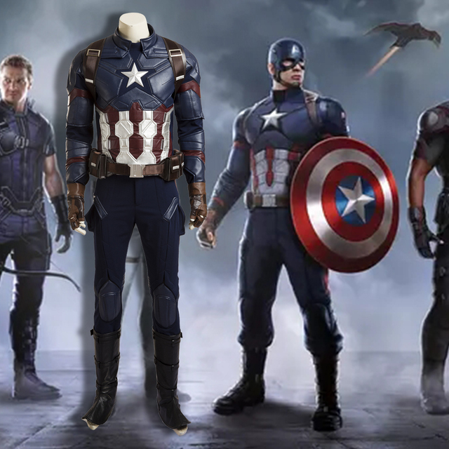 245cb175819 2016 New Captain America 3 Civil War Captain America Deluxe Cosplay Costume  Men s Outfit Halloween Cosplay Costume