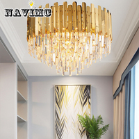 Modern Crystal Ceiling Lighting For Ceiling Luxury Golden LED Cristal Luster AC110 240V Round Living Room Crystal Lamp