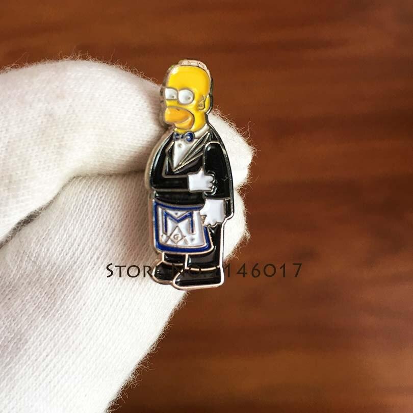 10 Stks Groothandel Maçonnieke Schort Revers Pin Cartoon Simpsons Ceremoniële Pak Broche Zacht Email Pinnen Badge Metalen Ambachtelijke Meme Gift
