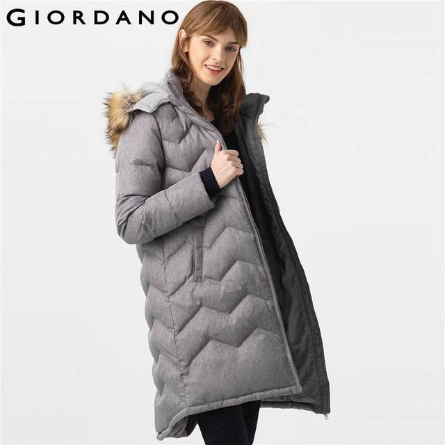 4ad2e8923c55 Giordano Women Downs Jacket Long Coat Faux-fur Trim Detachable Hood Down  Outerwear Femme Warm Clothing Winter Vetement