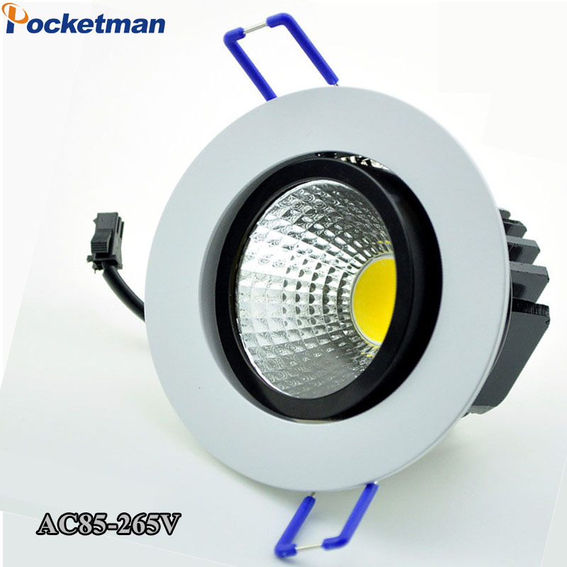 LED downlight dimmable COB Light White Shell 5W 7W 9W 12W LED Spot light led Recessed ceiling lamp AC 110V 220V Decoration Bulb no dimmable recessed led downlight cob 40w 60w led spot light led ceiling lamp ac110v 220v free shipping