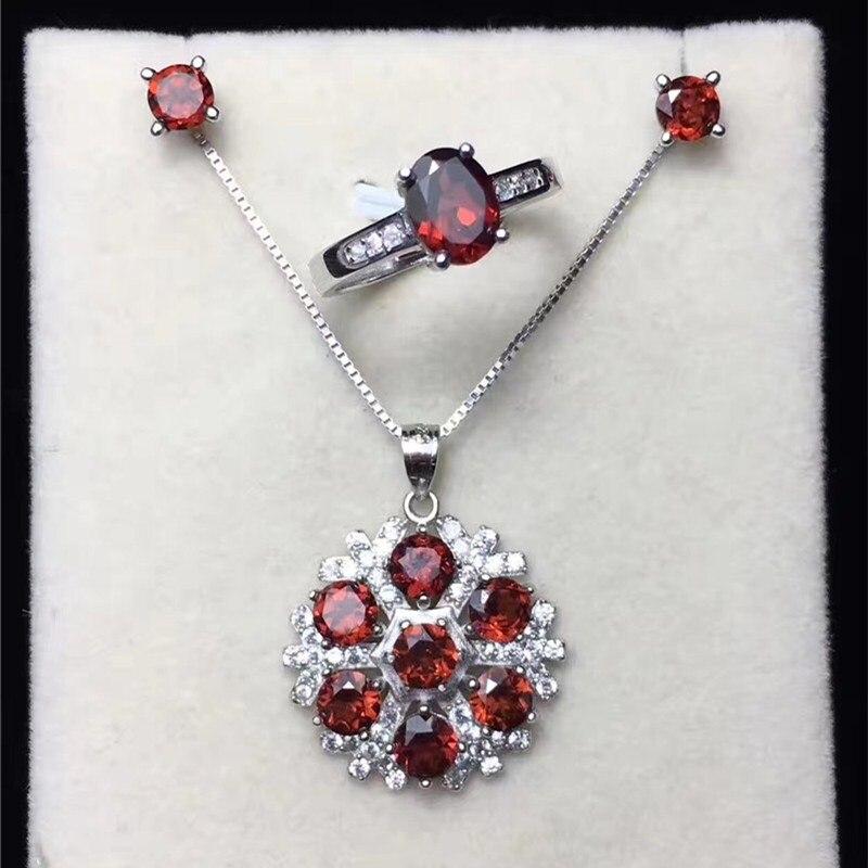 Ensembles de bijoux fins pour femmes solide 925 argent naturel grenat rouge pierres précieuses anneau boucles d'oreilles pendentifs Vintage CCS002-1