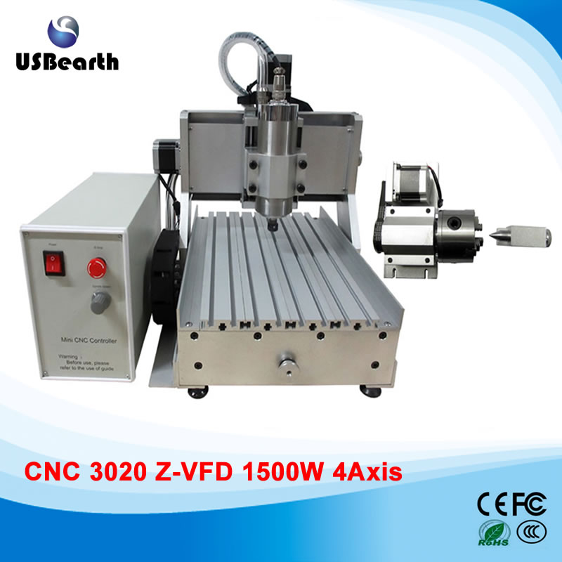 1500w metal cutting lathe 3020Z-VFD 4 axis cnc engraving machine to Russia no tax russain no tax 1 5kw router cnc 3020 machinery metal cutting lathe machine for hard material with 4 axis