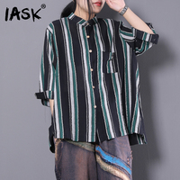 IASK 2018 New Summer Stand Collar Long Sleeve Single Breasted Pockets Loose Striped Blouse Shirt