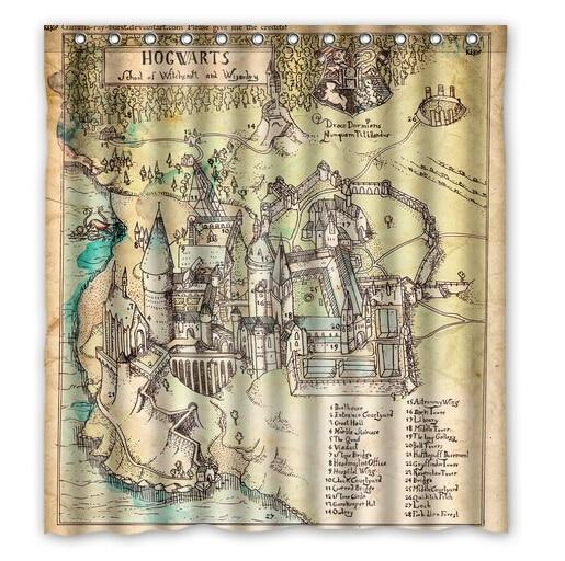 free shipping harry potter hogwarts map custom shower curtain home decor bathroom waterproof fabric fashion bath curtain scn 013