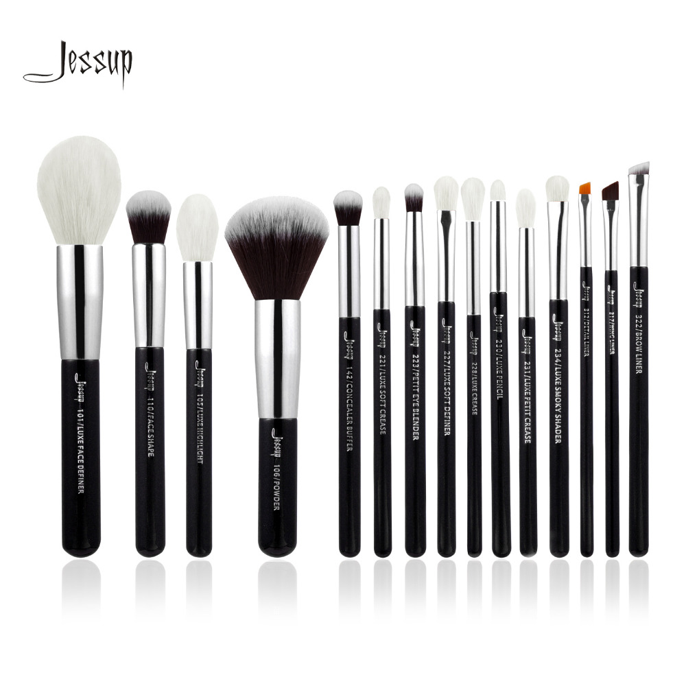 Jessup Brand Black/Silver Professional Makeup Brushes Brush set Beauty Tools Make up Foundation Powder natural-synthetic hair jessup 10pcs makeup brushes sets beauty synthetic hair make up brush tool foundation powder lash brow grommer cosmetics tools