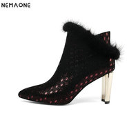 NemaoNe NEW winter warm high heel women boots sexy fur shoes high quality party wedding boots girls ankle boots big size 43