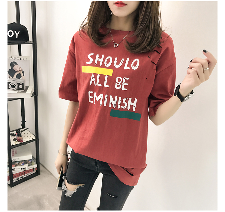 XL- 4XL 2019 new plus size summer loose High Street hole Letter print short sleeve O-Neck women T-shirt top tee TY5 24