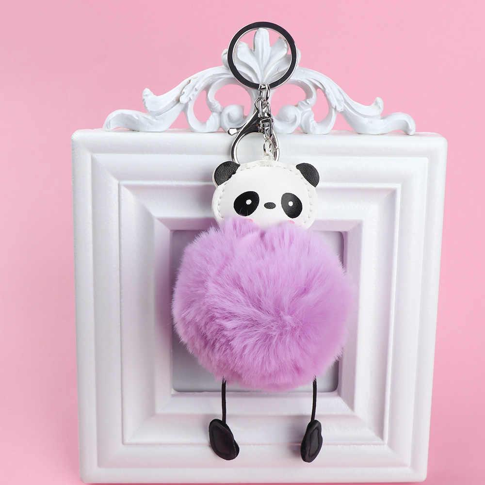 1 pcs Moda Chave Da Cadeia de Cabeça Panda Bonito da Pele Do Falso Fofo Mulheres Hairball Bolsa Chave Do Carro Pendurado Acessórios 8 Cores