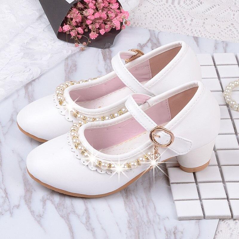 2019 ילדים לבן חרוזים נעלי עור קטן בנות ילדי שמלת מסיבת חתונה בית ספר prinses נעלי גדול בנות