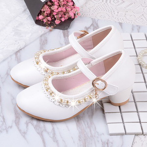 Image 1 - 2019 childrens white Beaded leather shoes little girls kids dress party wedding school prinses shoes big girls high heel shoes