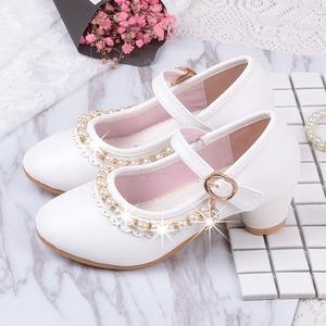 Image 1 - 2019 детские белые кожаные туфли с бусинами для маленьких девочек, детские вечерние свадебные школьные туфли с принтом, обувь на высоком каблуке для больших девочек