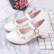 Zapatos de cuero con cuentas para niñas pequeñas, calzado de fiesta, boda, escuela, de tacón alto, color blanco, 2019