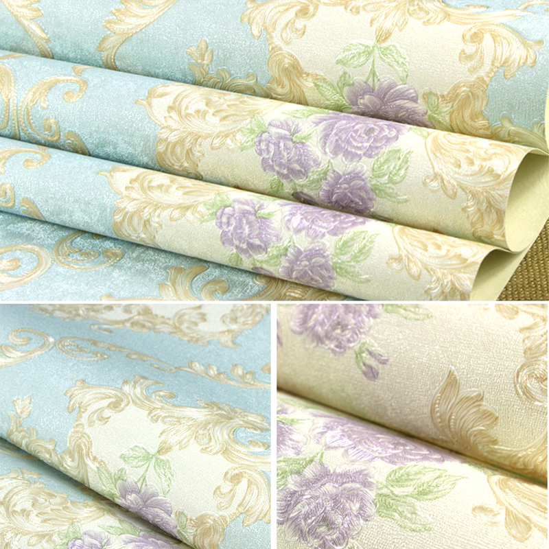 Купить с кэшбэком European Style 3D Embossed Flower Wall Papers Decor Mural Non-woven Badroom Living Room Wallpaper Roll for Walls papel de parede