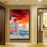 From JYJ Artist Red And Blue Color Canvas Wall Art HandPainted Modern Abstract Oil Painting For