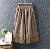 Autumn Japanese New Style Little Fresh Elastic Waist Crochet Lace Ankle Length Pants Loose Cotton And Linen Wide Leg Women Pants