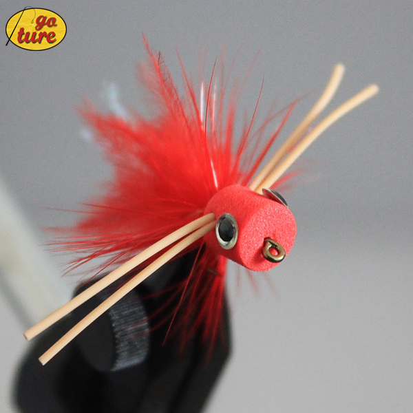 Goture Fly Fishing Lure Bait Topwater Popper Surface Dry Flies for Carp Bass Fishing with Mustard Hook 3# 5pcs/Lot