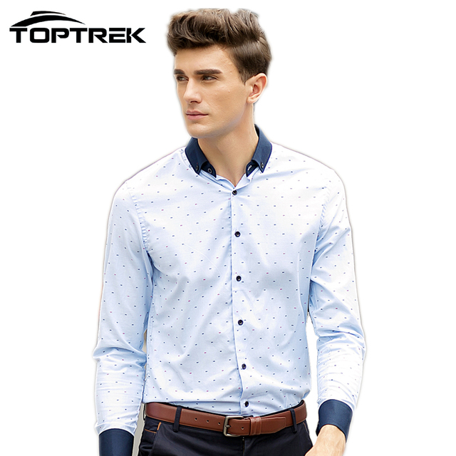 46da813f8e7e6 Toptrek Ropa Casual Hombre Vestido Slim Fit Camisa Chemise Homme Vetement  Homme Marca Moda 2016 Camisa